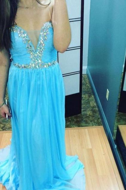 Blue Crystal Detailing Sheath Chiffon Prom Dresses 2017