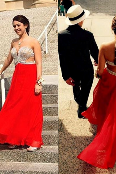 Red Crystal Sweetheart Backless A-line Chiffon Prom Dresses 2017