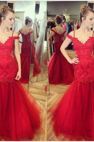 Red Appliques Floor-length Mermaid Tulle Prom Dresses 2017