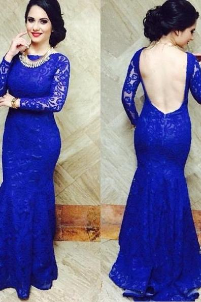 Blue Bateau Neck Mermaid Lace Prom Dresses 2017