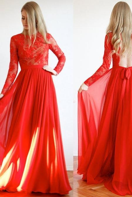 Red Backless Lace Long Sleeves Floor-length A-line Chiffon Prom Dresses 2017