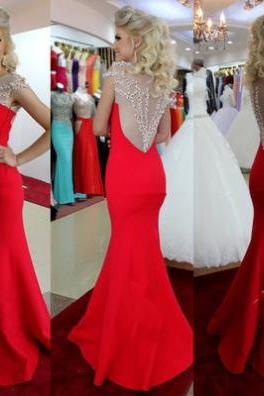 Red Beading Sheer Mermaid Satin Prom Dresses 2017