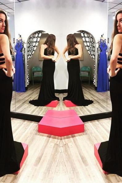 Black Bandage Halter Two Pieces Prom Dresses 2017