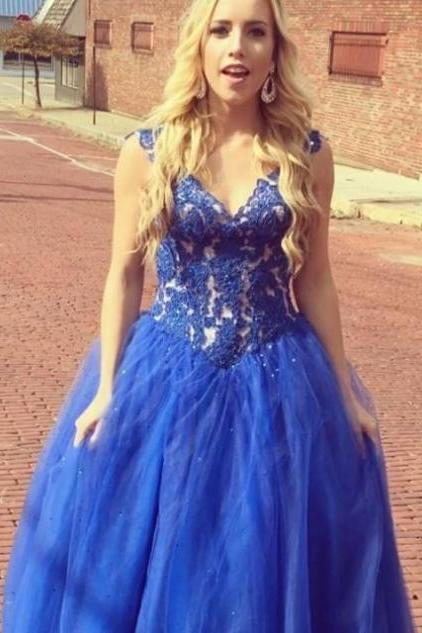 Royal Blue Appliques Ball Gown Tulle Prom Dresses 2017