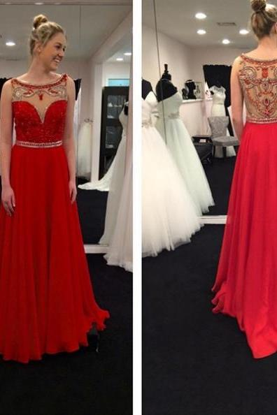 Red Sheer Beaded Back Chiffon Prom Dresses 2017
