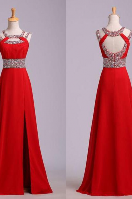 Red Beading Open Back Chiffon Prom Dresses 2017