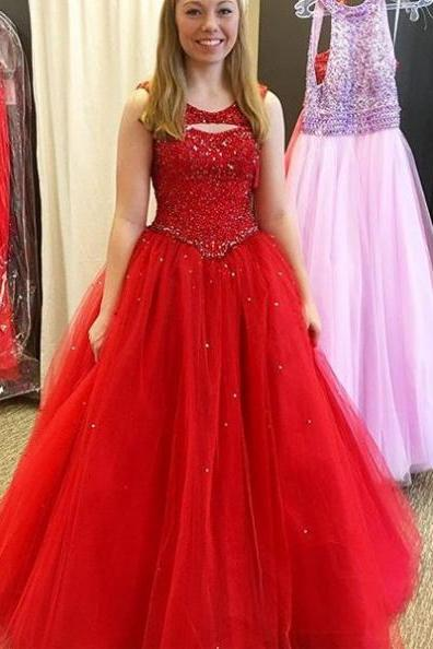 Red Prom Dresses 2017 Round Neck Beading Tulle