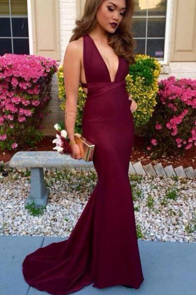 Burgundy V Neck Open Back Mermaid Satin Prom Dresses 2017