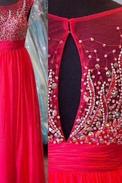 Red Crystal Round Neck Tulle Prom Dresses 2017