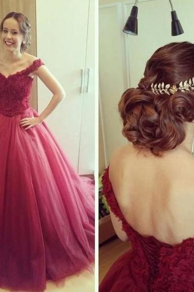Red Off-the-Shoulder Ball Gown Tulle Prom Dresses 2017