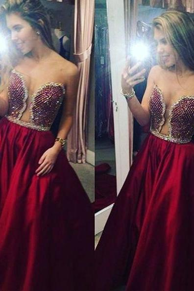 Red Sexy Beading Strapless Satin Prom Dresses 2017
