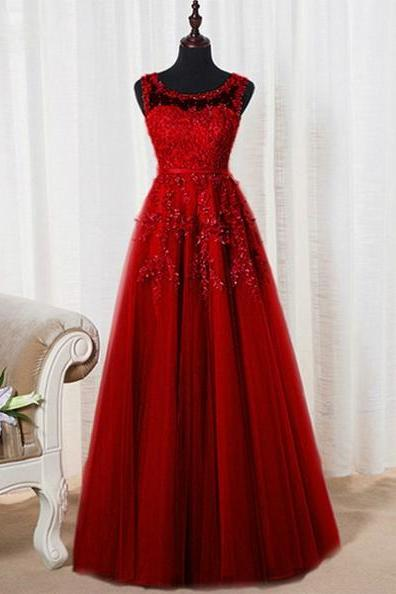 Red Bateau Neck Appliques Beading A-line Tulle Prom Dresses 2017