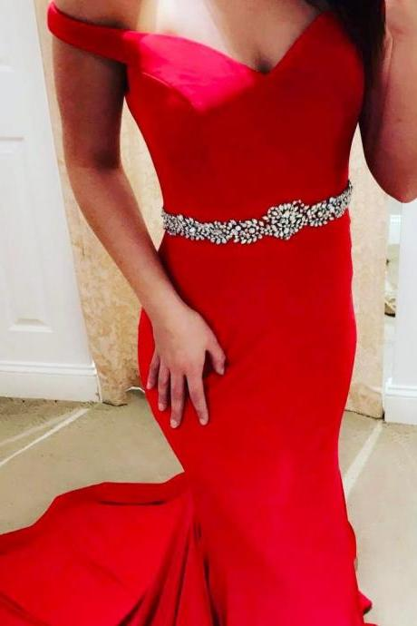 Red Sexy Beading Trumpet/Mermaid Prom Dresses 2017