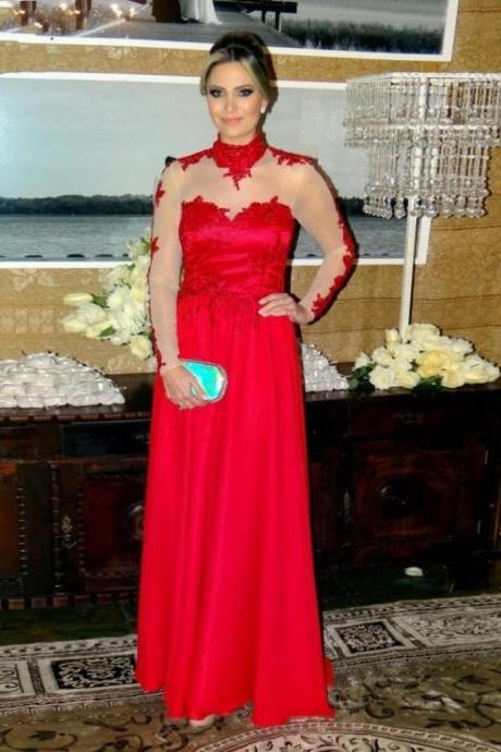 Red High Neck Long Sleeves Floor-length Zipper A-line Prom Dresses 2017