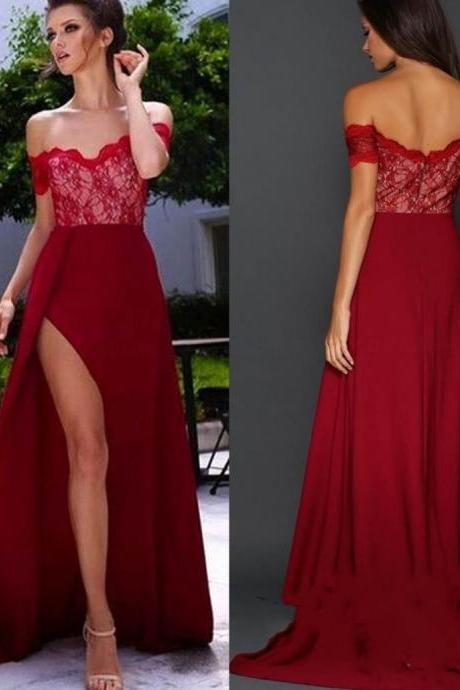 Red Lace Off-the-Shoulder A-line Satin Prom Dresses 2017