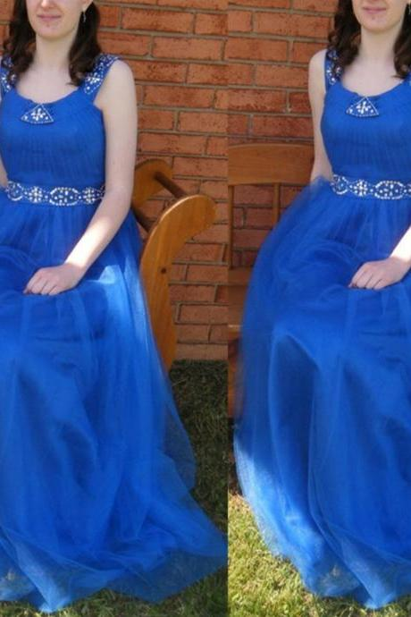 Blue Straps Natural A-line Beading Tulle Prom Dresses 2017