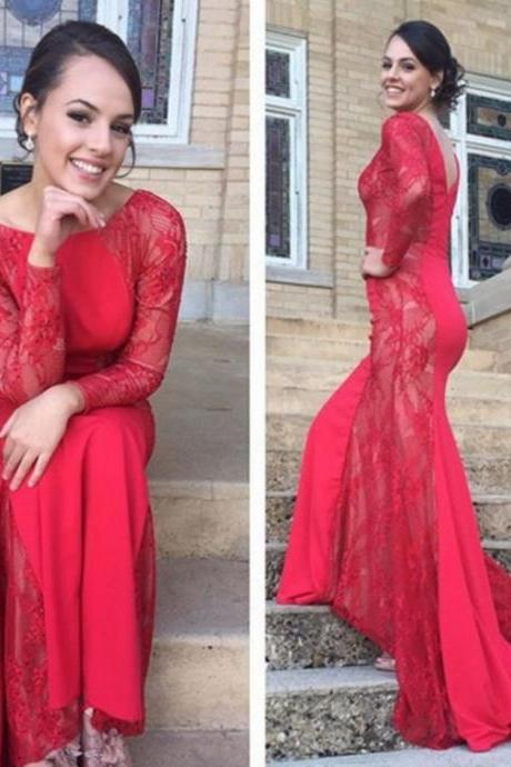 Red Mermaid Bateau Long Sleeve Sweep/Brush Train Prom Dresses 2017