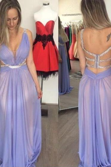 Purple Straps Backless Floor-length A-line Prom Dresses 2017