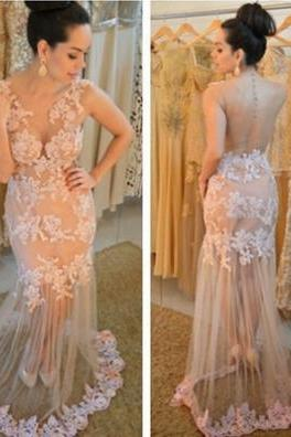 Trumpet/Mermaid V-Neck Sleeveless Court Train Lace Prom Dresses 2017