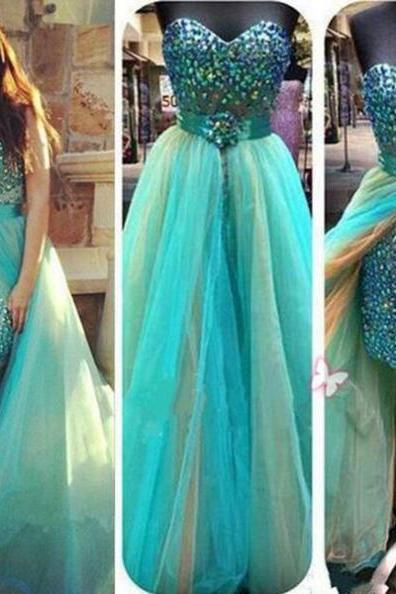 Blue A-Line Sweetheart Sleeveless Natural Zipper Tulle Prom Dresses 2017
