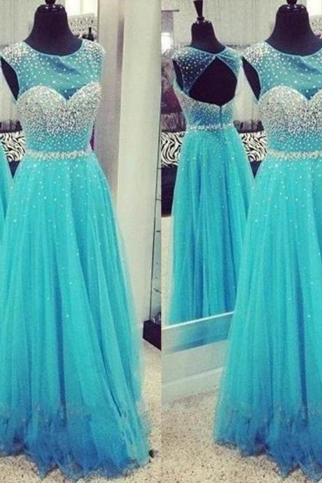 Blue Beading Jewel Neck A-Line Tulle Prom Dresses 2017