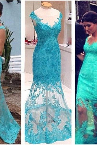 Blue Trumpet/Mermaid V-Neck Sleeveless Natural Zipper Floor-Length Lace Prom Dresses 2017