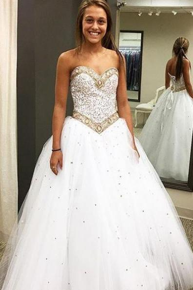 White Prom Dresses 2017 Sweetheart Beading Lace Up A-line Tulle