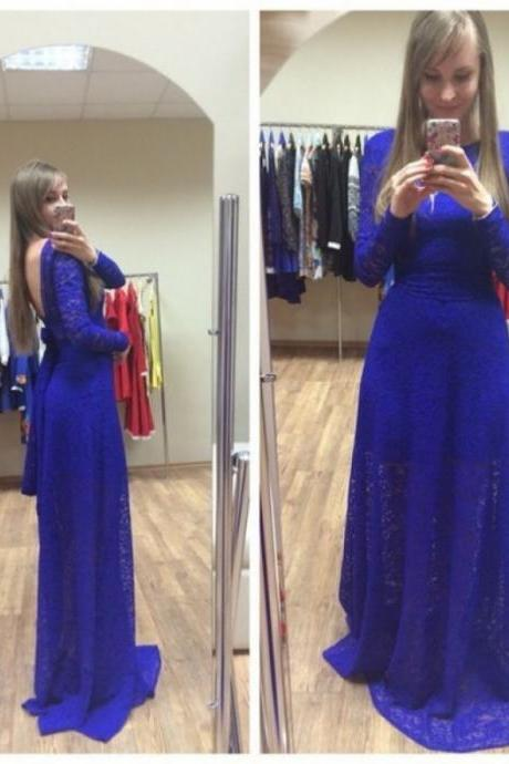 Blue Backless Long Sleeves Sheath/Column Lace Prom Dresses 2017