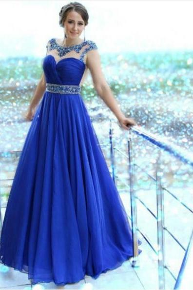 Blue Crystal Capped Sleeves A-line Chiffon Prom Dresses 2017