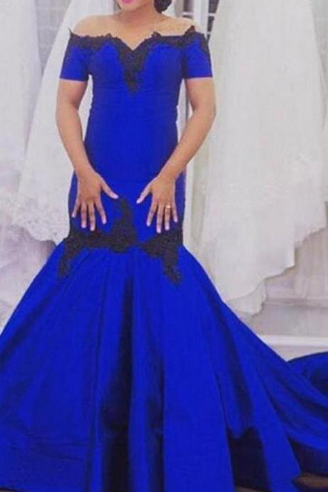 Blue Short Sleeves Off-the-Shoulder Mermaid Satin Prom Dresses 2017