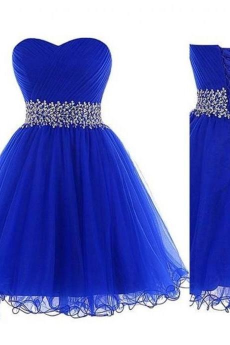 Royal Blue Tulle Ruched Sweetheart Short Homecoming Dress Featuring Crystal Embellished Waist and Lace-Up Back