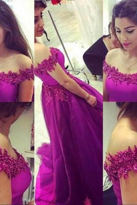 Beading Off-the-Shoulder Ball Gown TulleProm Dresses 2017