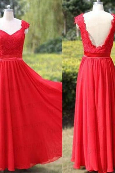 Red Queen Anne Backless Lace Chiffon Prom Dresses 2017