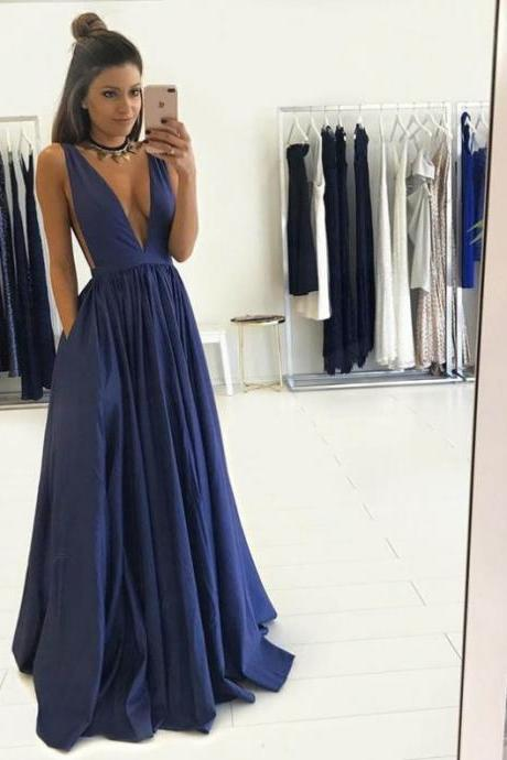 Navy Deep V-Neck A-line Satin Prom Dresses 2017