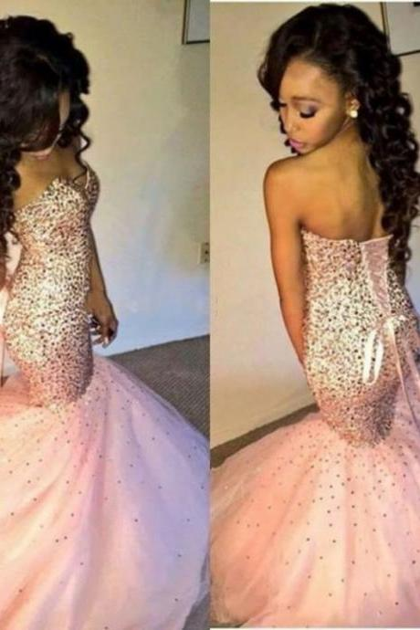 Sequins Lace-up Mermaid Tulle Prom Dresses 2017