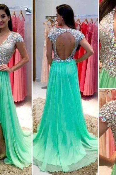 Sequins Backless High-Slit Chiffon Prom Dresses 2017