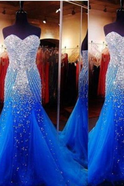 Blue Trumpet/Mermaid Sweetheart Sleeveless Sweep/Brush Train Taffeta Prom Dresses 2017