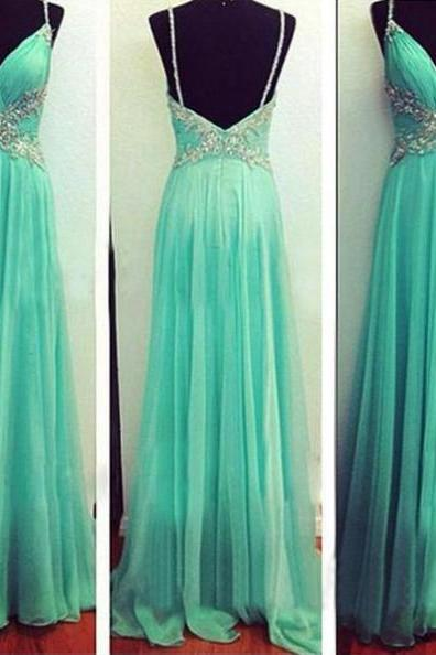 A-Line Spaghetti Straps Sleeveless Natural Backless Chiffon Prom Dresses 2017