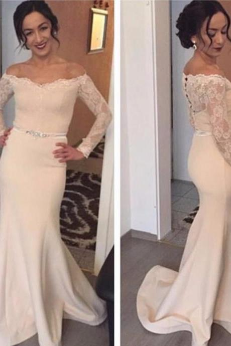 Sexy Off-the-Shoulder Long Sleeves Trumpet/Mermaid Satin Prom Dresses 2017