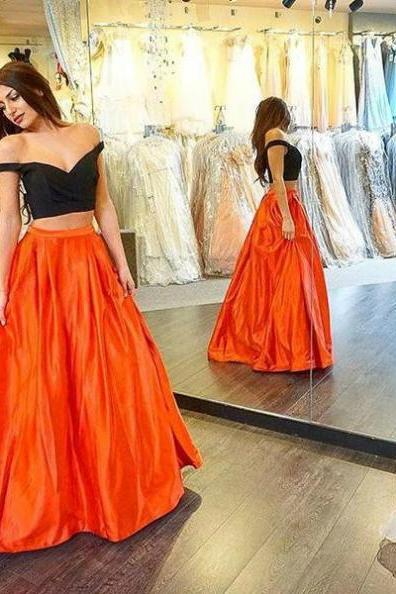 Sexy A-line Off-the-Shoulder Two Pieces Prom Dresses 2017