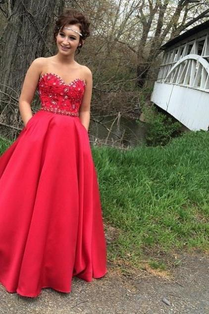 Custom Made Dark Red Sweetheart Neckline Satin Ball Gown Prom Dress with Crystal Beading