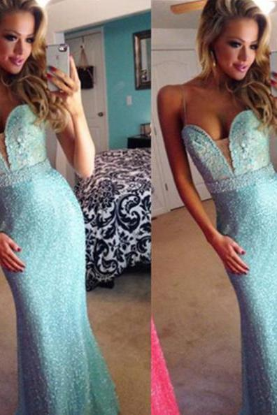 Blue Trumpet/Mermaid Spaghetti Straps Floor-Length Prom Dresses 2017