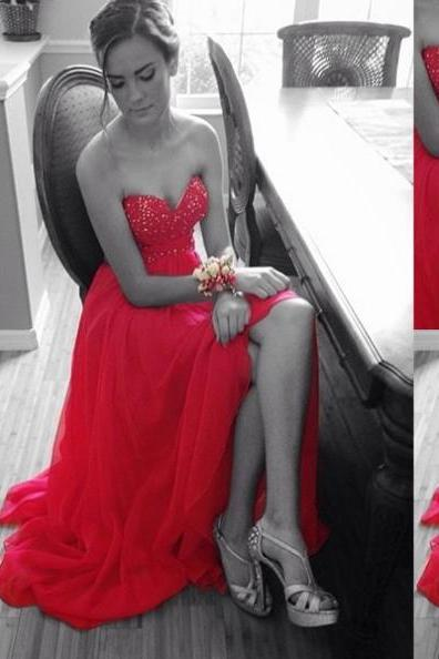 Red Floor-length Sweetheart A-line Satin Prom Dresses 2017