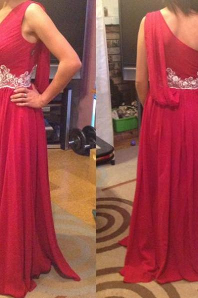 Red One Shoulder Floor-length Appliques A-line Chiffon Prom Dresses 2017