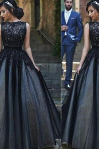 Black A-Line Bateau Sleeveless Natural Sweep/Brush Train Tulle Prom Dresses 2017