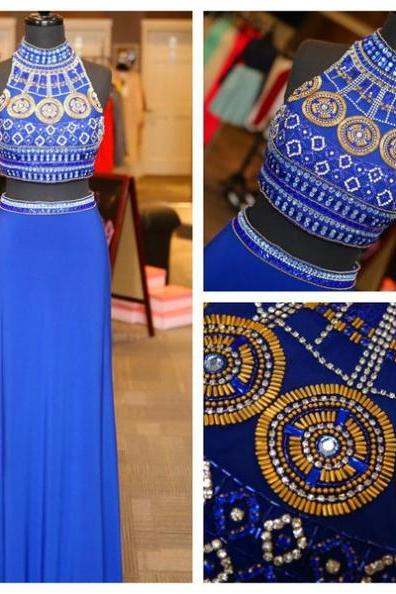 Blue Cheap Prom Dresses 2017 Sheath/Column Sequins High Neck Chiffon