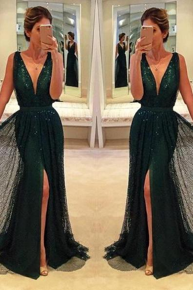 Sexy V-Neck Front-Split Sequined Prom Dresses 2017