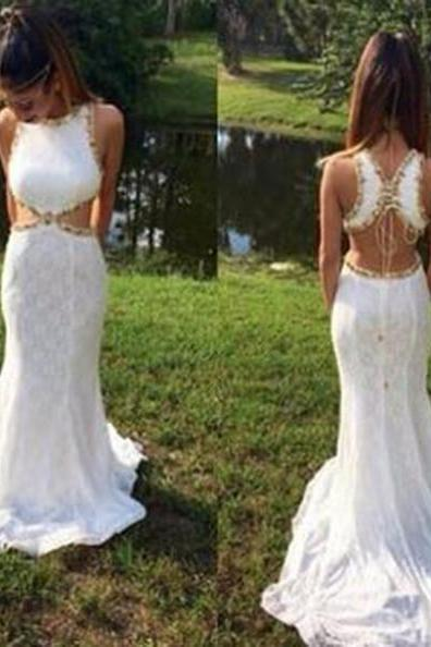 White Mermaid Sleeveless Backless Sweep/Brush Train Prom Dresses 2017