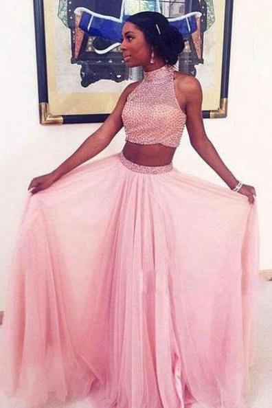 High Neck Beading Natural Two Pieces A-line Prom Dresses 2017