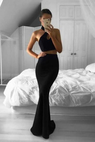 Black Halter Mermaid Satin Two Pieces Prom Dresses 2017